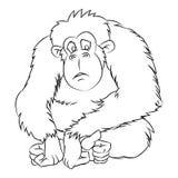 猿动画片-线得出的传染媒介 免版税库存照片