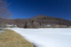 水獭小屋峰顶在冬天 免版税库存图片