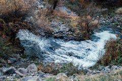 玄武岩专栏在Garni峡谷 的臂章 库存照片