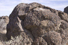 玄武岩古怪的冰砾, Sun湖干瀑布国家公园, Washingt 免版税库存图片