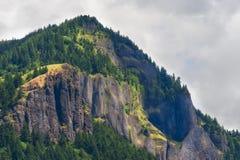 玄武岩峭壁在哥伦比亚河峡谷 免版税库存照片