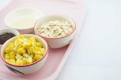 玉米、燕麦、巧克力和变甜的浓缩牛奶在桃红色盘子 库存照片
