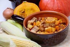 玉米、肉和南瓜炖煮的食物 库存照片