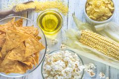 玉米产品的变异 免版税库存图片