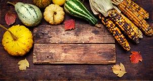 玉米和南瓜在一个木板 免版税库存照片