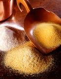 玉米和小麦面粉 免版税库存图片