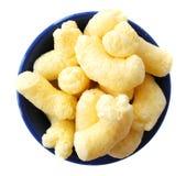 玉米嘎吱咬嚼的快餐 库存图片