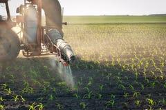 玉米庄稼施肥拖拉机 免版税库存照片