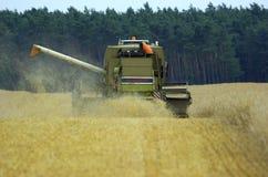 玉米收益收割机时间 免版税库存照片