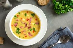 玉米汤用火腿 图库摄影