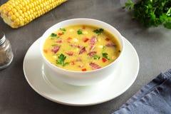 玉米汤用火腿 库存照片