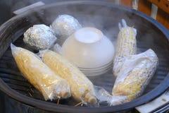 玉米热蒸 免版税库存图片