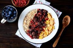 玉米片、巧克力球、燕麦粥、goji莓果和新鲜的蓝莓健康早餐  库存图片