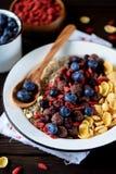 玉米片、巧克力球、燕麦粥、goji莓果和新鲜的蓝莓健康早餐  免版税库存照片