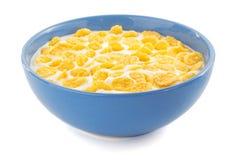 玉米片和牛奶在碗在白色 图库摄影
