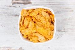玉米片当来源碳水化合物和饮食纤维,滋补吃概念 库存照片