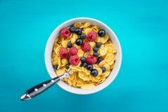 玉米片谷物用莓和越桔和黑醋栗在一个白色碗 免版税库存图片