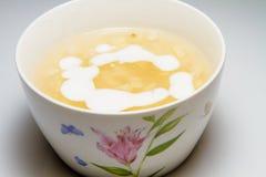 玉米甜汤(布丁)用椰奶 免版税库存照片