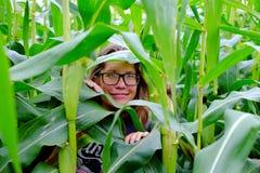 玉米的女孩 库存照片