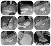 玉米粉薄烙饼做过程 库存图片