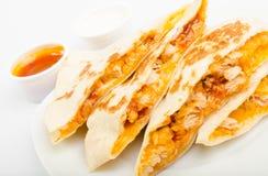 玉米粉薄烙饼鸡用调味汁 库存图片