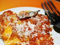玉米糊饼用蕃茄博洛涅塞调味汁 图库摄影