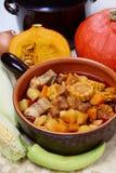 玉米肉南瓜炖煮的食物 免版税库存图片