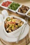 玉米肉蘑菇多种胡椒沙拉 库存图片