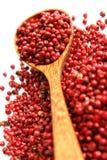 玉米胡椒木粉红色的匙子 图库摄影