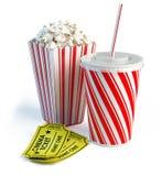 玉米花、可乐和戏院票 免版税库存图片