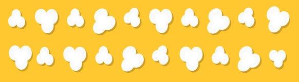 玉米花流行的象集合线 戏院电影之夜标志标志 鲜美食物 平的设计样式 黄色电影戏院背景 库存例证