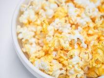 玉米花碗,选择聚焦宏观射击  免版税库存图片
