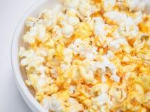 玉米花碗,选择聚焦宏观射击  免版税图库摄影