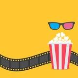 玉米花 影片小条边界 3D玻璃红色镶边箱子 戏院在平的设计样式的电影之夜象 黄色背景 皇族释放例证