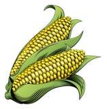 玉米葡萄酒木刻例证 免版税库存照片