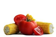 玉米蕃茄 免版税图库摄影