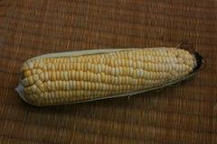 玉米,在玉米的焦点与在席子的果皮 免版税库存图片