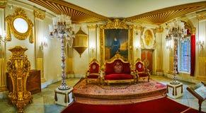 王位屋子的全景, Manial宫殿,开罗,埃及 免版税图库摄影