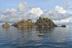王侯Ampat巴布亚印度尼西亚巨大的全景风景 库存图片