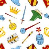 王国样式-城堡,矛,盾,骑士,在平的样式的盔甲 库存照片