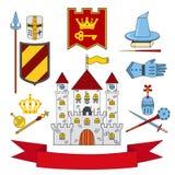 王国设置了-城堡,长矛,盾,骑士,盔甲,苍白的魔术 免版税图库摄影