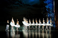 王子寻找天鹅来了到湖芭蕾天鹅湖 免版税图库摄影