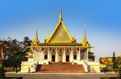王宫和银塔(王位大厅),金边,不 库存图片