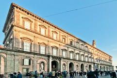 王宫在Plebiscito广场-那不勒斯,意大利 库存照片