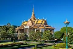 王宫复杂庭院,金边,柬埔寨 库存照片
