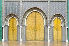 王宫的门在Fes,摩洛哥 免版税图库摄影
