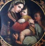 玛丹娜和孩子和圣约翰福音传教士 库存照片