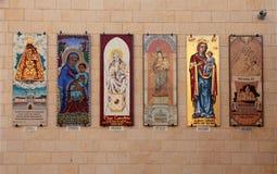 玛丹娜和孩子马赛克在大教堂的墙壁上  图库摄影