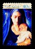 玛丹娜和孩子,圣诞节1996年serie,大约1996年 库存照片