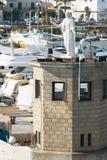 玛丹娜的雕象Casamicciola港的  免版税库存照片
